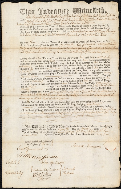 Document of indenture: Servant: Thwing, William. Master: Emmons, Samuel. Town of Master: Boston