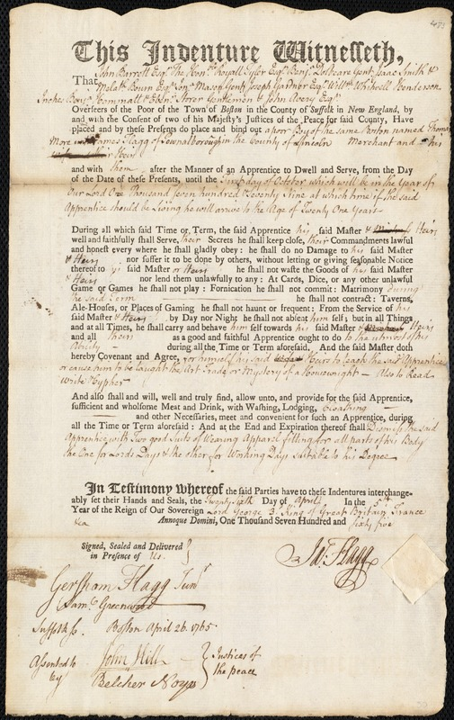 Document of indenture: Servant: More, Thomas. Master: Flagg, James. Town of Master: Pownallborough