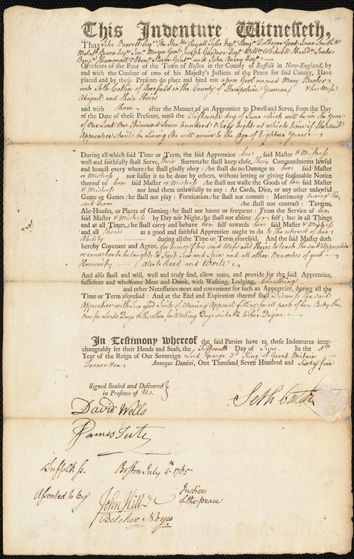 Document of indenture: Servant: Barber, Mary. Master: Catlin, Seth. Town of Master: Deerfield