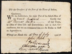 Document of indenture: Servant: Burgis, John. Master: Bacon, Thomas. Town of Master: Bedford. Selectmen of the town of Bedford autograph document signed to the Overseers of the Poor of the town of Boston: Endorsement Certificate for Thomas Bacon.