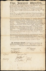 Document of indenture: Servant: Warner, William. Master: Emmons, Thomas. Town of Master: Boston