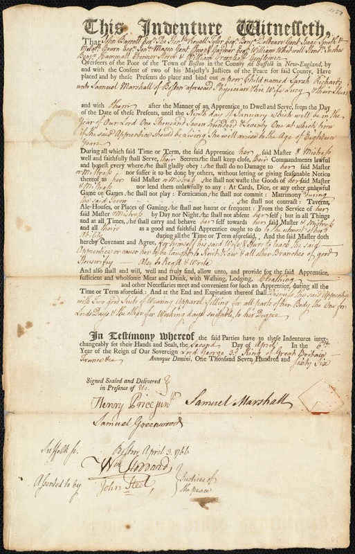 Document of indenture: Servant: Richards, Sarah. Master: Marshall, Samuel. Town of Master: Boston