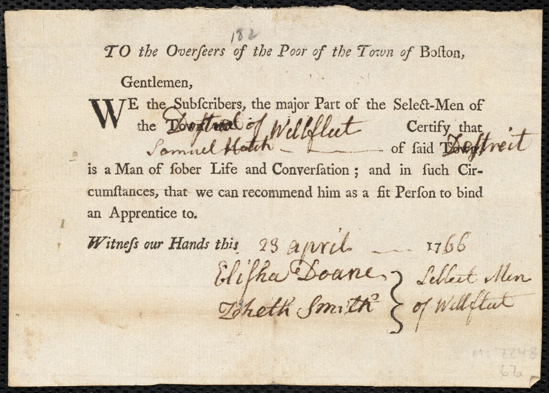 Document of indenture: Servant: Warren, Richard. Master: Hatch, Samuel. Town of Master: Wellfleet. Selectmen of the town of Wellfleet autograph document signed to the Overseers of the Poor of the town of Boston: Endorsement Certificate for Samuel Hatch.