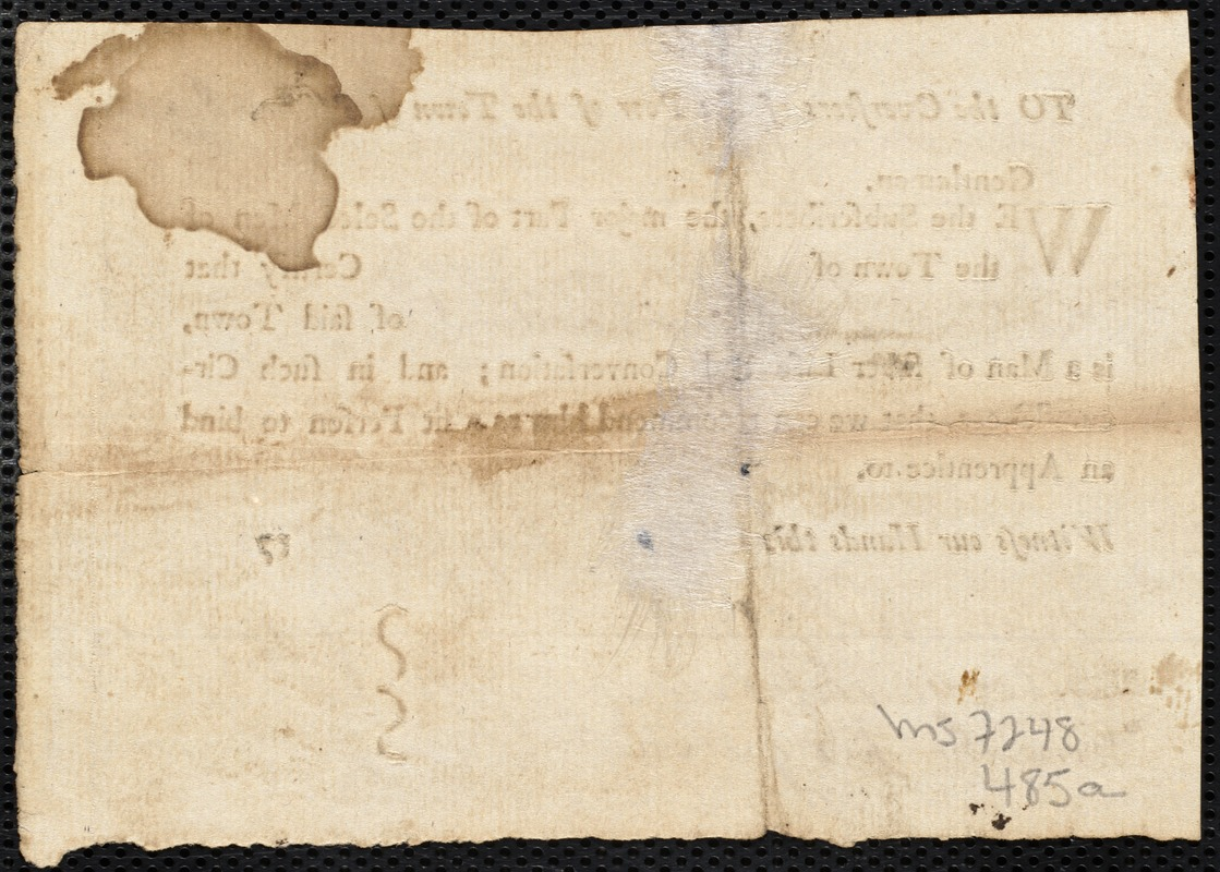 Document of indenture: Servant: Murphy, Katharine. Master: Loydd [Loyd], Robert. Town of Master: Blanford. Selectmen of the town of Blanford autograph document signed to the Overseers of the Poor of the town of Boston: Endorsement Certificate for Robert Loyd.