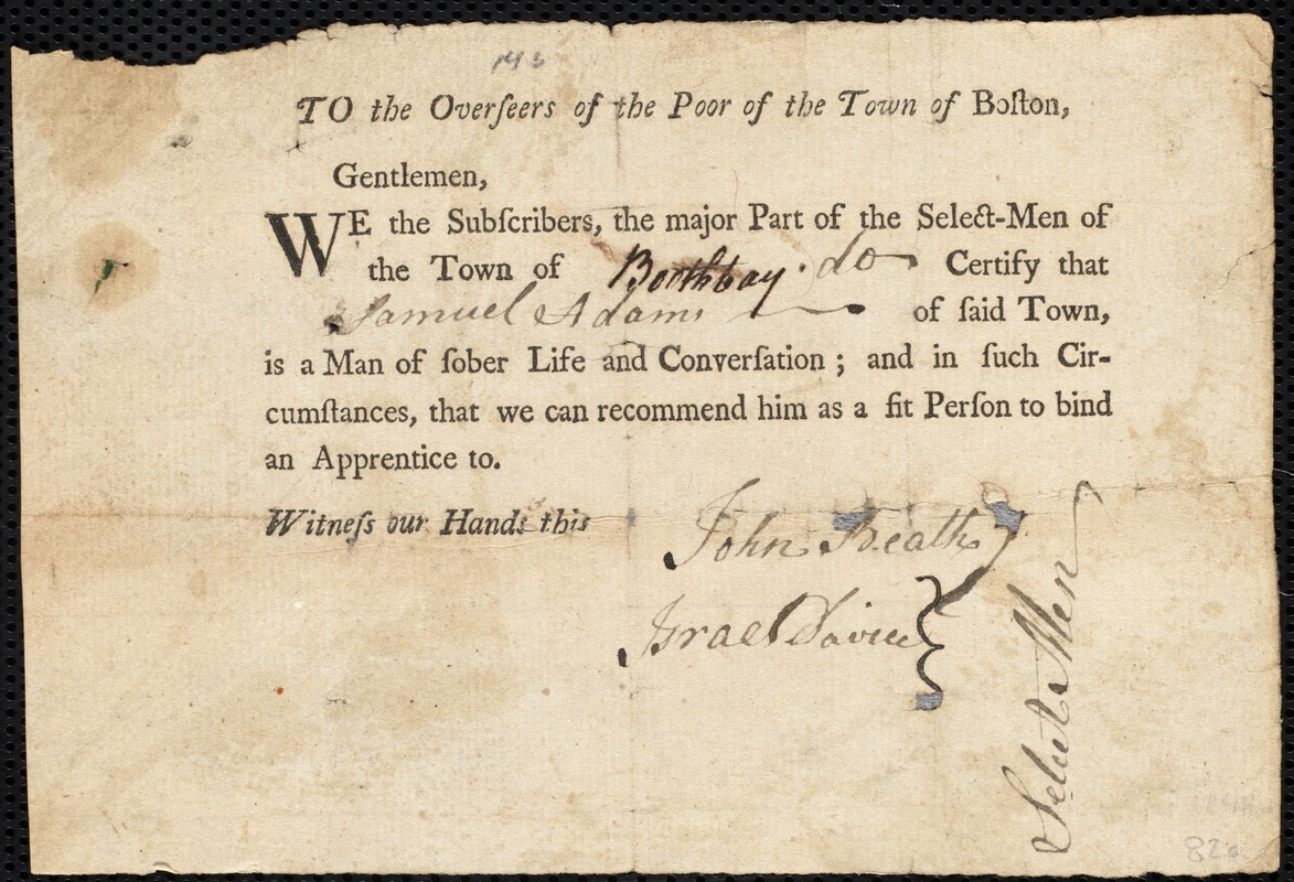 Document of indenture: Servant: Taylor, Jane. Master: Adams, Samuel. Town of Master: Boothbay. Selectmen of the town of Boothbay autograph document signed to the Overseers of the Poor of the town of Boston: Endorsement Certificate for Samuel Adams.