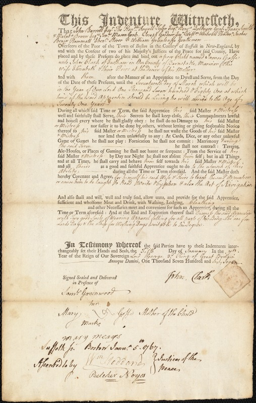 Document of indenture: Servant: Goffe, James. Master: Clark, John. Town of Master: Eastham