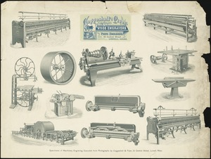 Specimens of machinery engraving executed from photographs by Coggeshall & Piper, 33 Central Street, Lowell, Mass.