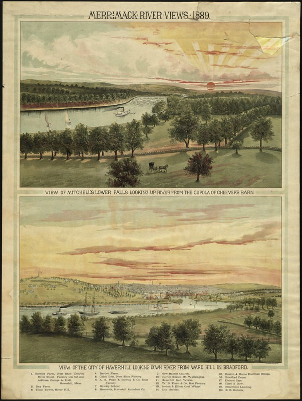 Merrimack River Views, 1889. : view of Mitchell's Lower Falls looking up river from the cupola of Cheever's Barn [and] view of the City of Haverhill {Mass.] from Ward Hill in Bradford.