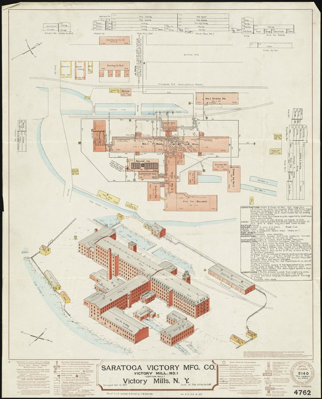 Saratoga Victory Mfg. Co., Victory Mill No. 1 (Cotton Mill), Victory Mills, N.Y. [insurance map]