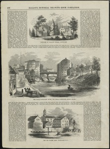 Cottages on Walcott Street, Pawtucket, The Falls, Pawtucket River, and mills, Pawtucket, Rhode Island, The Old Slater Mill, Pawtucket, R.I.