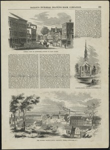 Central part of Pawtucket, looking up Main Street, Congregational Church, Pawtucket, R.I., The Dunnell Manufacturing Company's Works, Pawtucket, R.I.