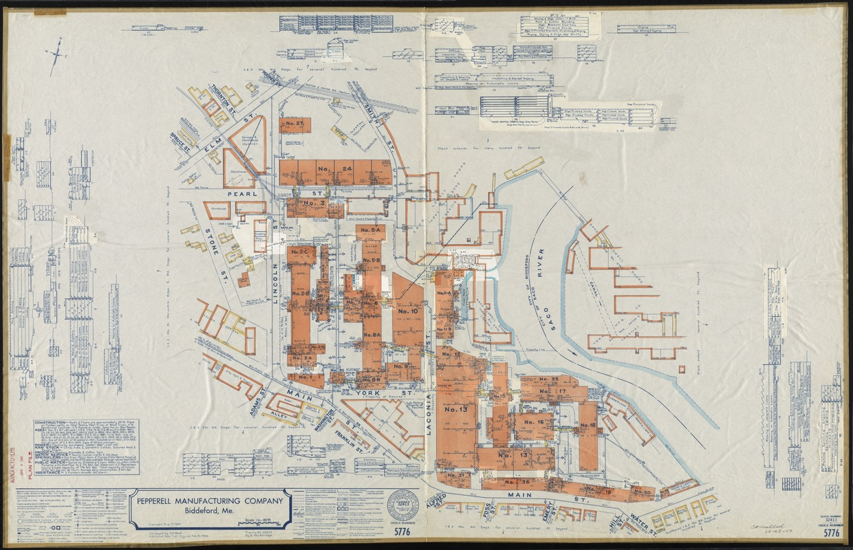 Pepperell Manufacturing Company Biddeford Me Insurance Map Digital Commonwealth