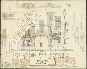 "Durfee Mills ""Nos. 1, 2 & 3 Mills"" (Cotton Mill), Fall River, Mass. [insurance map]"