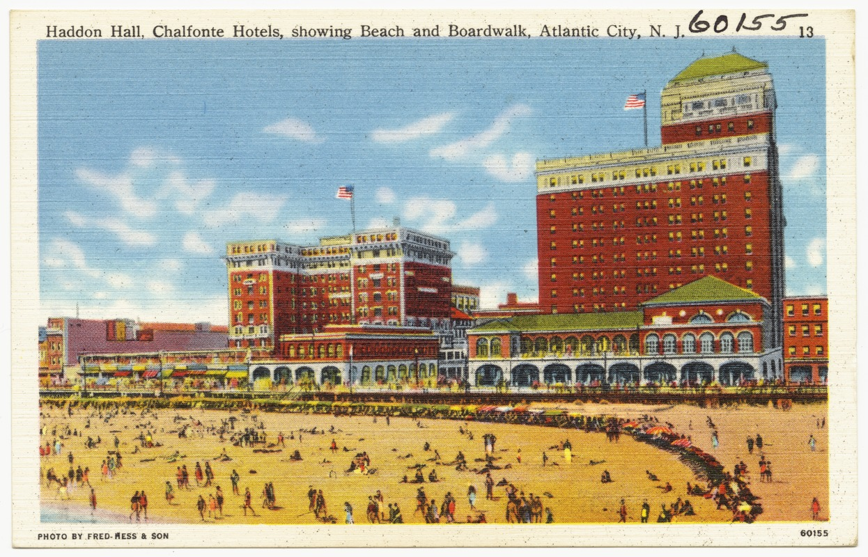 Haddon Hall, Chalfonte Hotels, showing beach and boardwalk, Atlantic City, N. J.