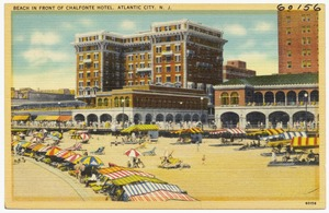 Beach in front of Chalfonte Hotel, Atlantic City, N. J.