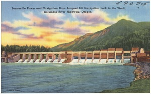 Bonneville Power and Navigation Dam, largest lift navigation lock in the world, Columbia River Highway, Oregon