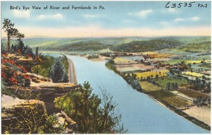 Bird's eye view of river and farmlands in Pa.