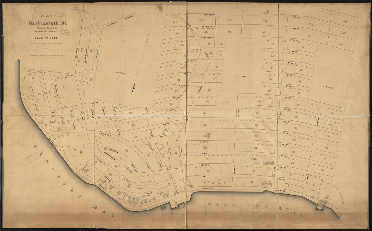 Plan of a part of New Brighton, Staten Island, showing the 500 blocks comprised in a proposed sale of lots