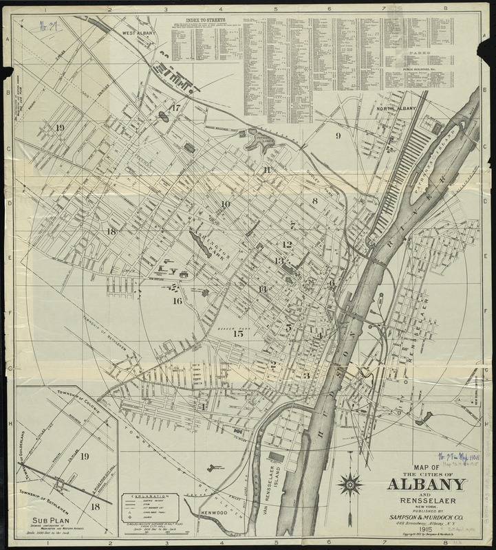 Map of the cities of Albany and Rensselaer, New York - Norman B ...