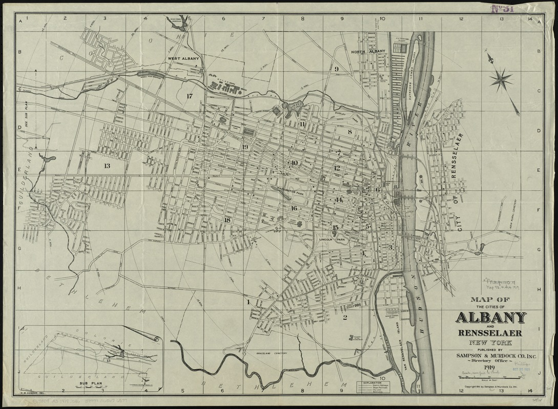 Map of the cities of Albany and Rensselaer, New York