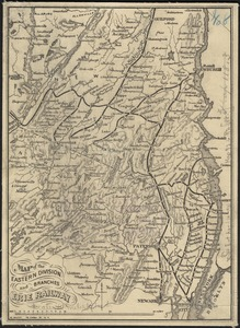 Map of the eastern division and branches, Erie Railway