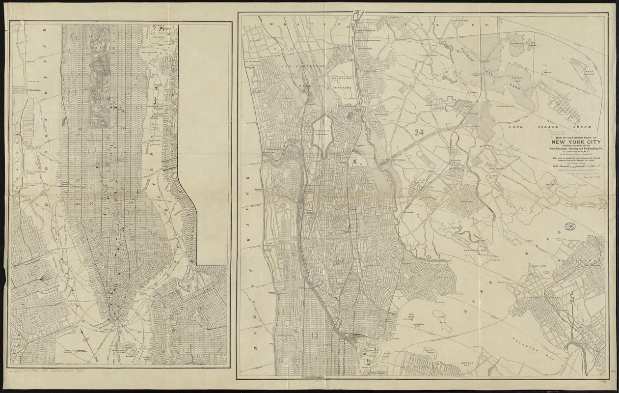 Map of northern part of New York City