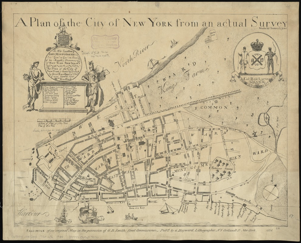Map Of Cities In New York.A Plan Of The City Of New York From An Actual Survey Norman B