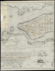 Map of the city & county of New York ; Upper part of the city and county of New York on a reduced scale