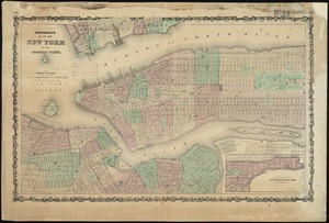 Johnson's map of New York and the adjacent cities