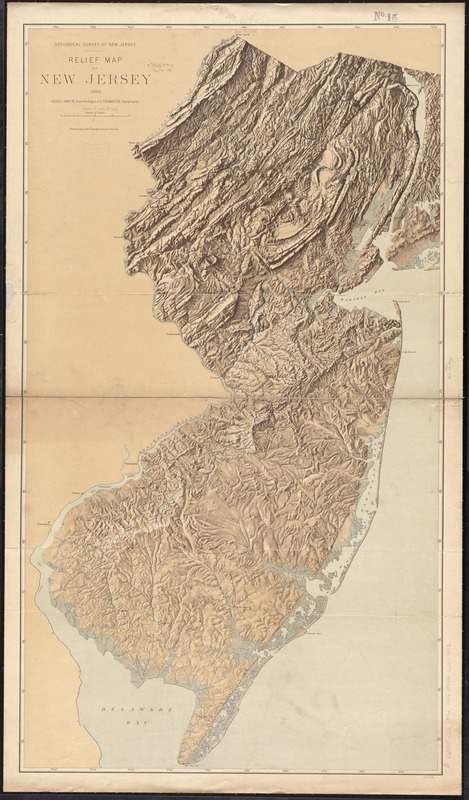 Relief map of New Jersey