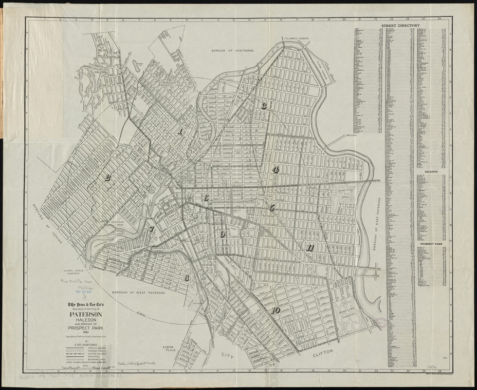 The Price & Lee Co's new map of the city of Paterson, Haledon and borough of Prospect Park