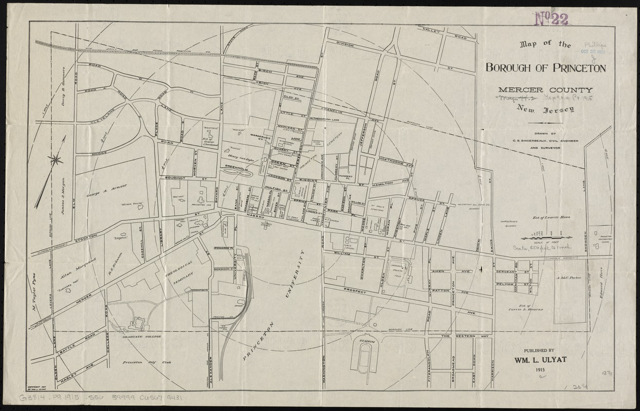 Map of the borough of Princeton, Mercer County, New Jersey