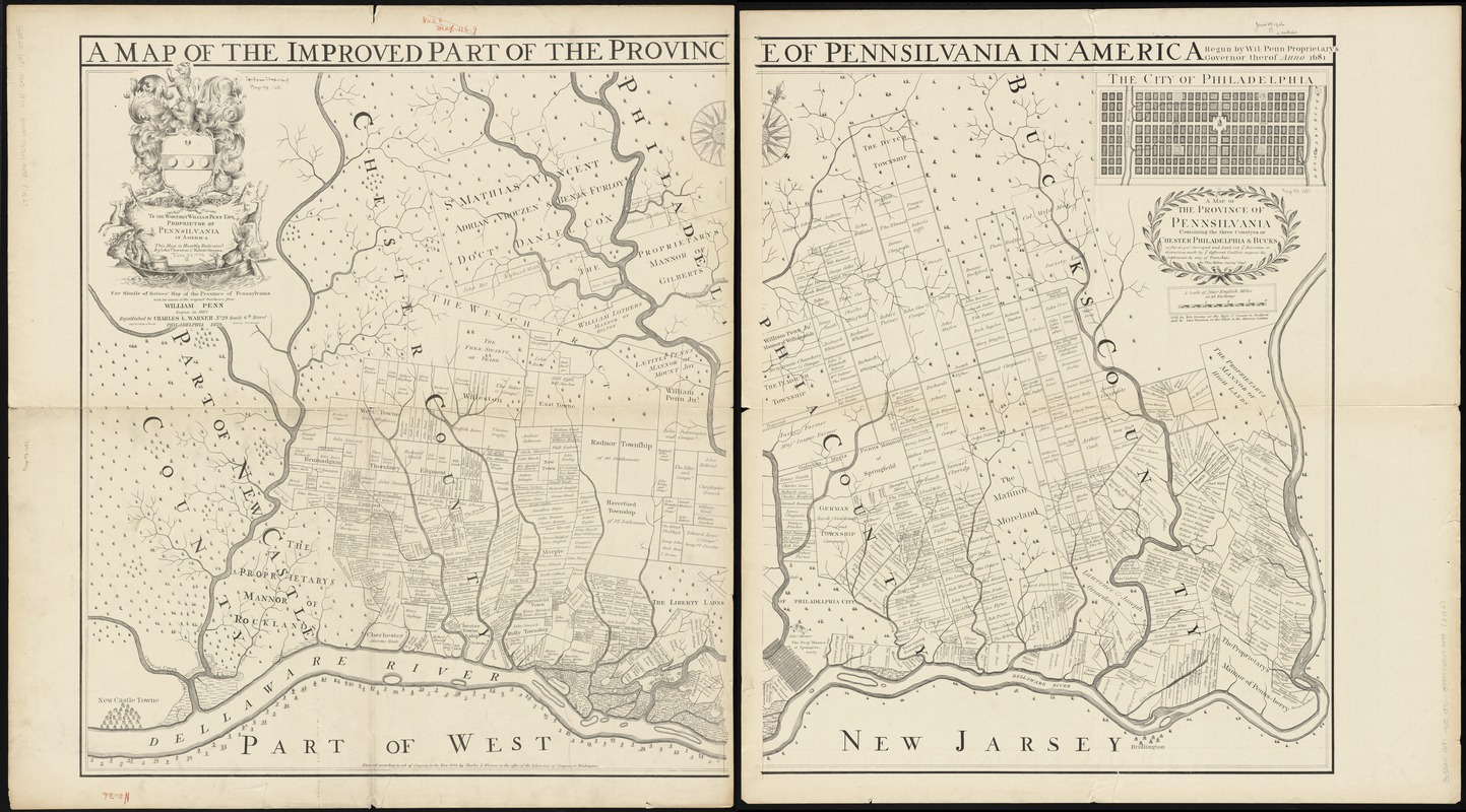 Fac simile of Holmes' map of the Province of Pennsylvania