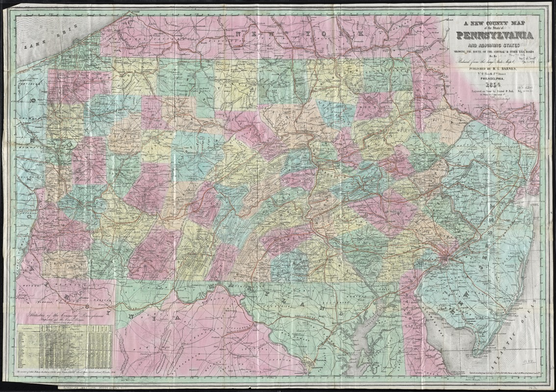 A new county map of the state of Pennsylvania and adjoining states