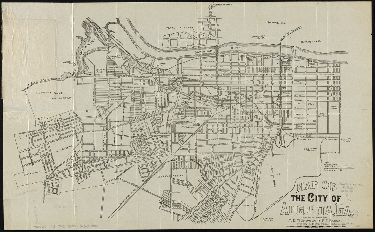 Map Of Augusta Georgia And Surrounding Area.Map Of The City Of Augusta Ga Norman B Leventhal Map Education