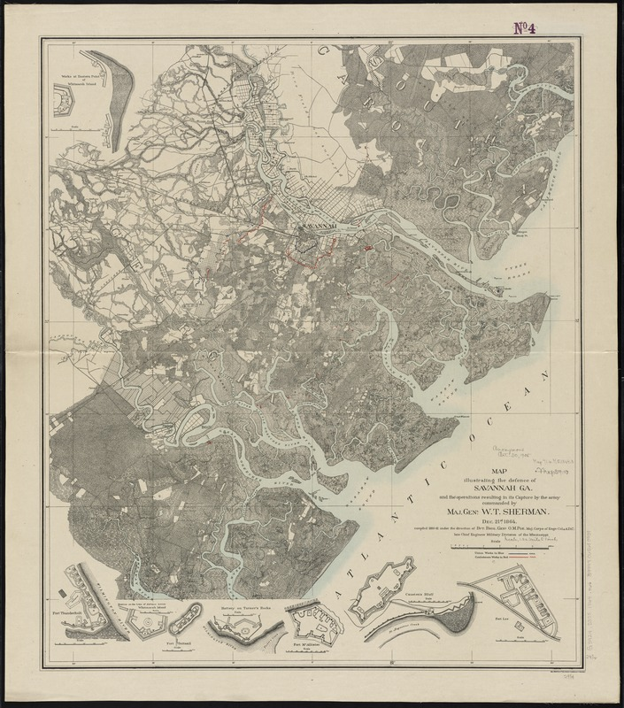 Map illustrating the defence [sic] of Savannah, Ga. and the operations resulting in its capture by the army commanded by Maj. Genl. W.T. Sherman, Dec. 21st, 1864