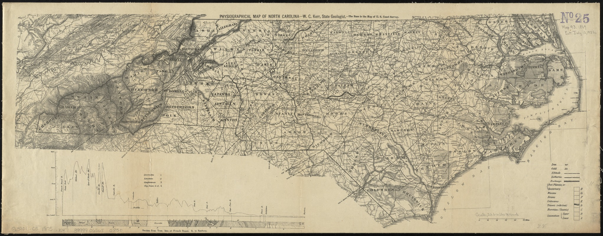 Physiographical map of North Carolina