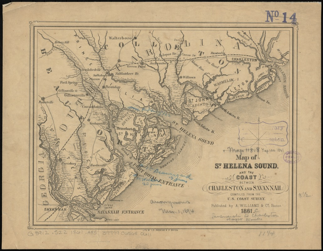 Map of St Helena Sound and the coast between Charleston and