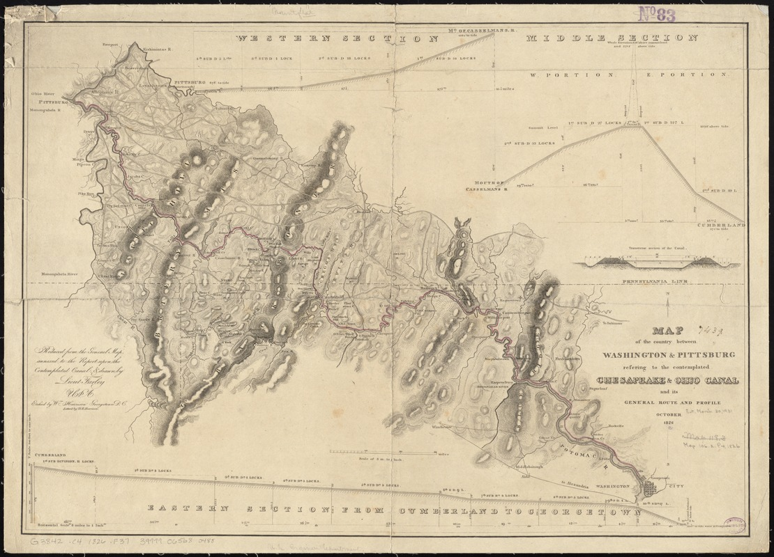 Map of the country between Washington & Pittsburg refering to the contemplated Chesapeake & Ohio Canal and its general route and profile, October 1826