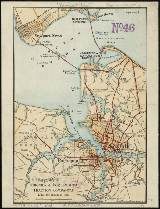 Norfolk & Portsmouth Traction Company's lines are shown in red