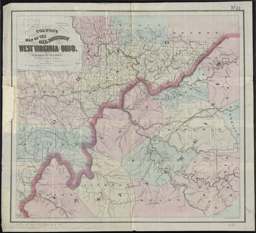Colton's map of the oil district of West Virginia and Ohio