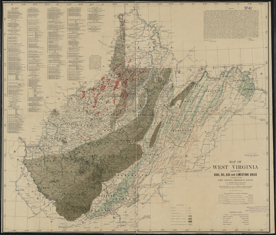 Map of West Virginia showing coal, oil, gas and limestone areas