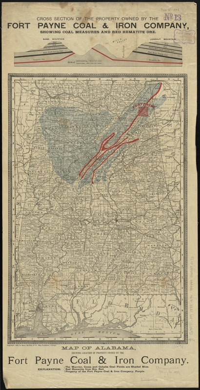 Map of Alabama, showing location of property owned by the Fort Payne Coal & Iron Company