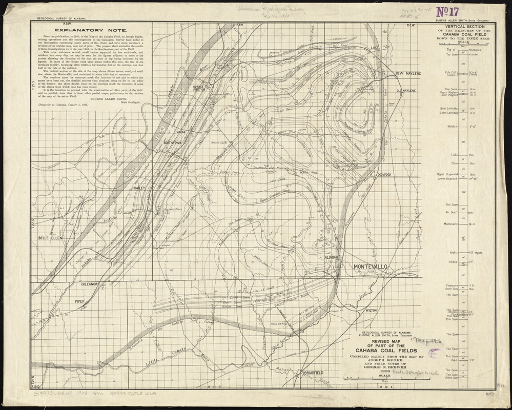 Revised map of part of the Cahaba coal fields