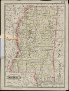 Railroad and county map of Mississippi