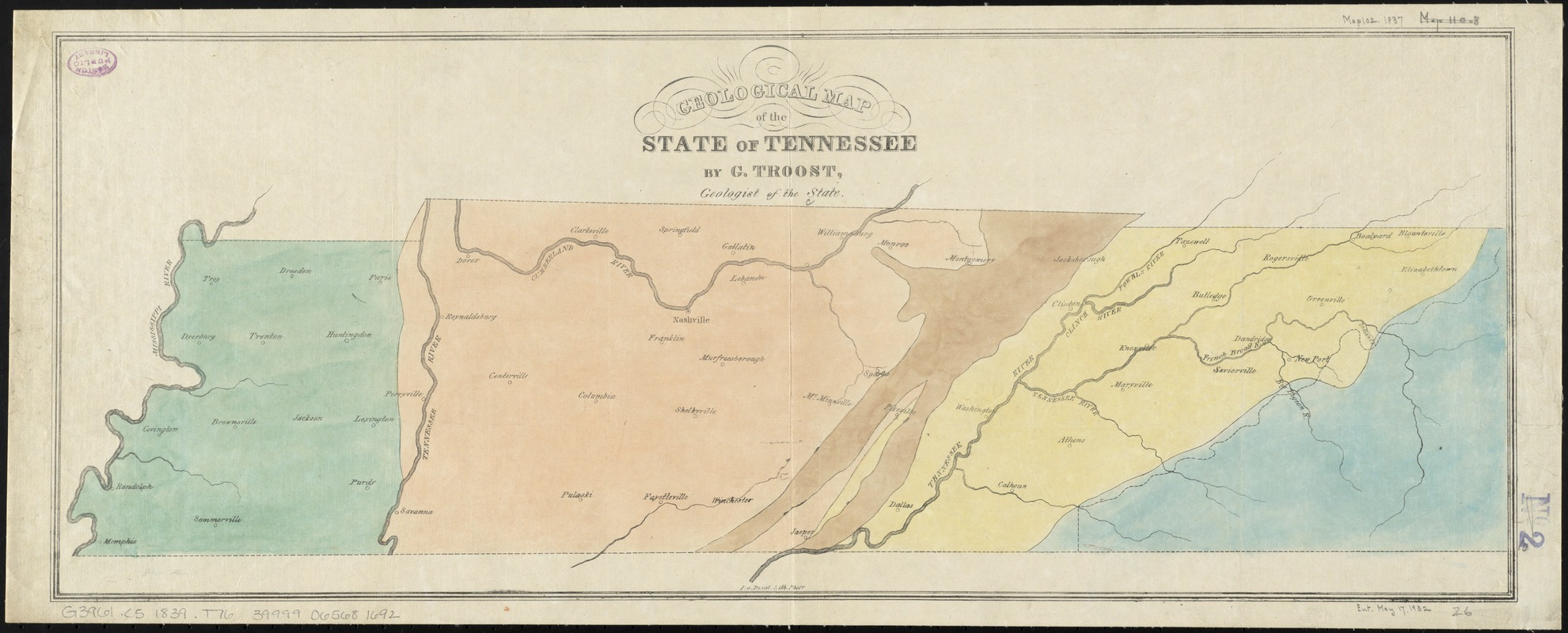 Geological map of the state of Tennessee