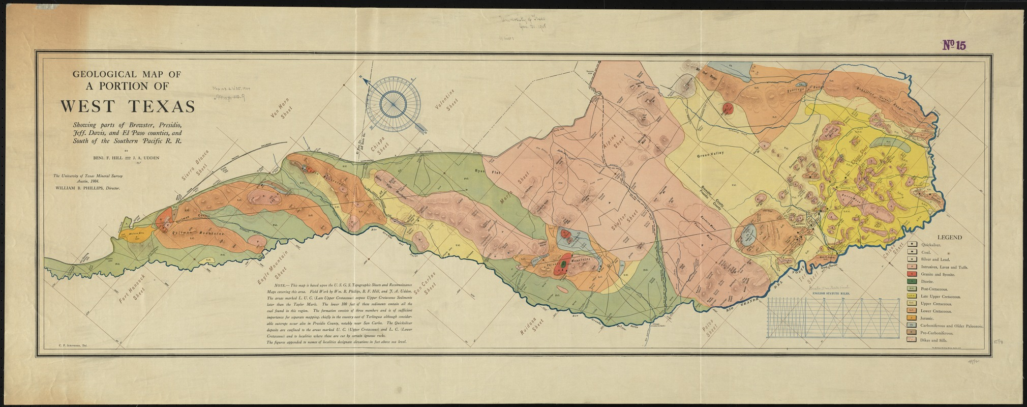 Geological map of a portion of West Texas
