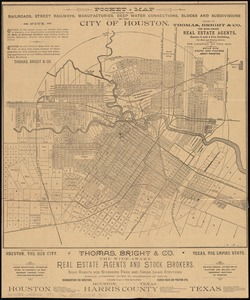 Pocket map showing the railroads, street railways, manufactories, deep water connections, blocks and subdivisions of the city of Houston