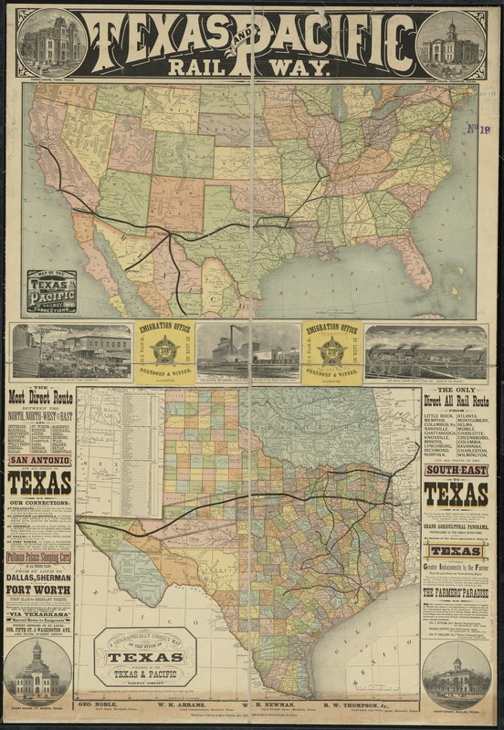 Map Of Texas Railroads.Texas And Pacific Rail Way Digital Commonwealth