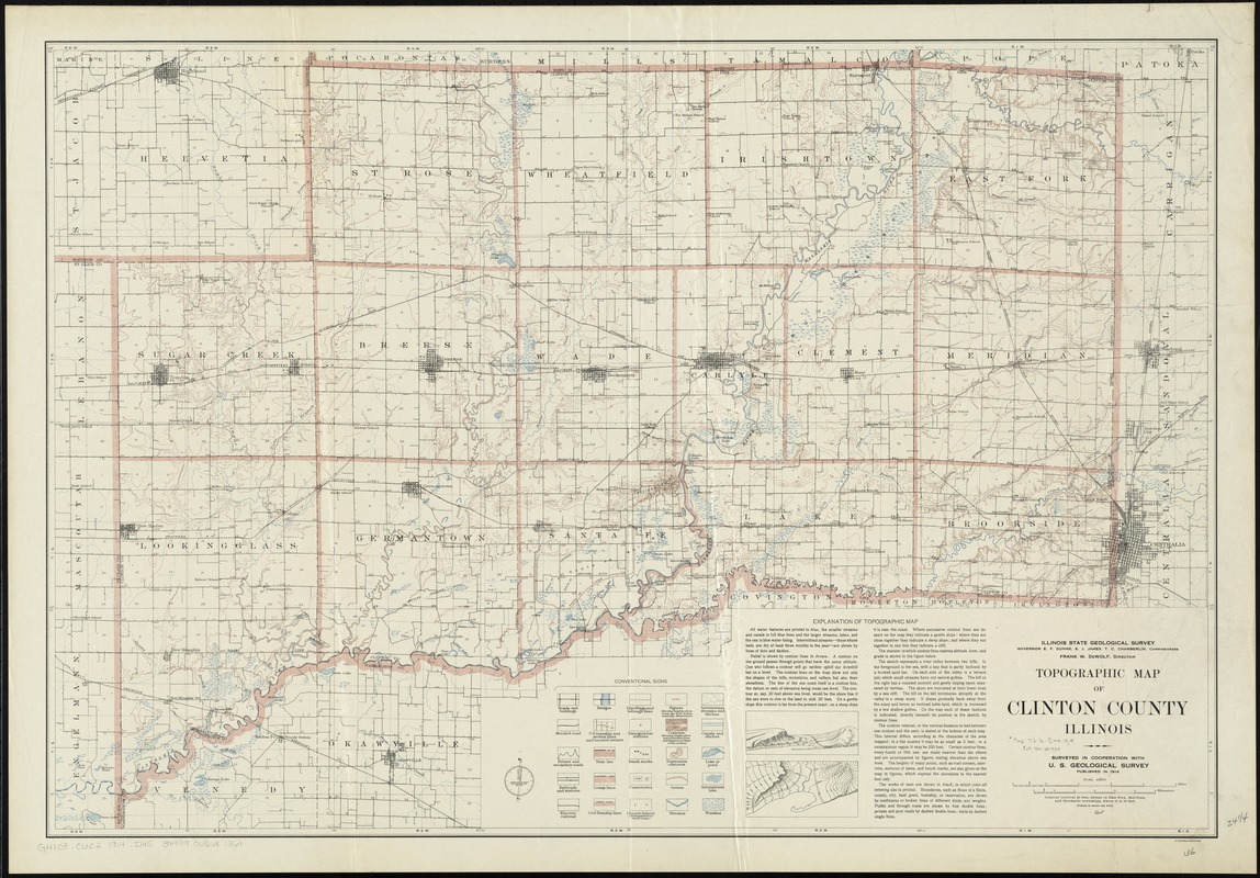 Topographic map of Clinton County, Illinois